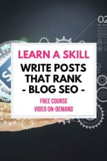 FREE Write What Ranks Blog SEO Course. Discover Blog Post Ideas by learning Blog SEO Tips.